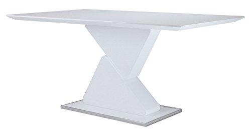 Cavadore 82215 Esszimmertisch Cube / Moderner Esstisch in Hochglanz Weiß mit viel Beinfreiheit / 160x90x76 cm (LxBxH)