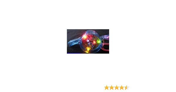 5 Pcs Flashing Whistle Colorful Lanyard LED Light Up Fun In the Dark Party Rave