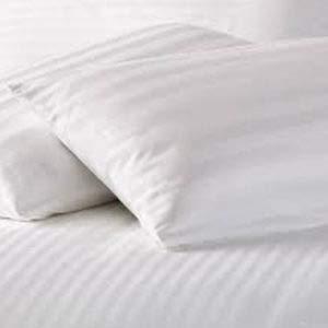Bedding Beats Bettwäsche-Set, 100% ägyptischer Baumwollsatin, Fadenzahl 250, White Sateen Stripes, Pair of Housewife Pillow Cases (50 x 75 cm) - White Stripe Kopfkissenbezug Set