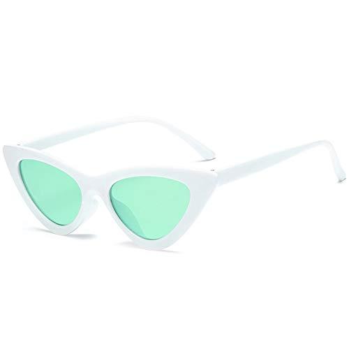 KnSam Polarisierte UV400 Schutz Ultraleicht Rahmen Dreieck Cat Eye Sonnenbrille Damen Weiß Grün Fahrerbrille