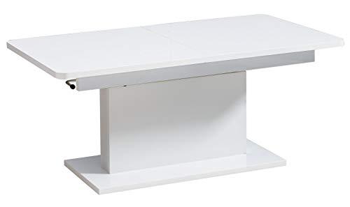 Couchtisch höhenverstellbar und ausziehbar Escolar 1, Farbe: Weiß - 126-168 x 70 x 58-75 cm (B x T x H)