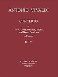 Concerto in g-moll RV 107 für Flöte, Oboe, Violine, Fagott, Bc - Partitur und Stimmen (MR 1148)