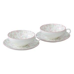 Bone china tea Cutie Rose porcelain bowl plate pair set