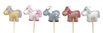 5 Mini-Figurenkerzen * PFERDE * für Kindergeburtstag und Motto-Party // Pony Reiten Kinder Geburtstag Kerzen Deko