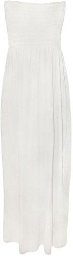 Einfaches Bandeau (WearAll - Damen einfachen shirred bandeau trägerloses mit rüschen besetztes langes Maxi Kleid - Weiß - 36-38)