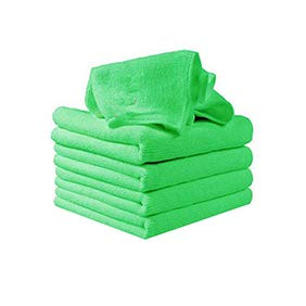 GSYClbf 5Pcs Square Microfiber Soft Kitchen Kindergarten Car Washing Cleaning Natural & Best for Sensitive Skin |Face Towel |Naturally Antibacterial(Multi-Colour) Green -