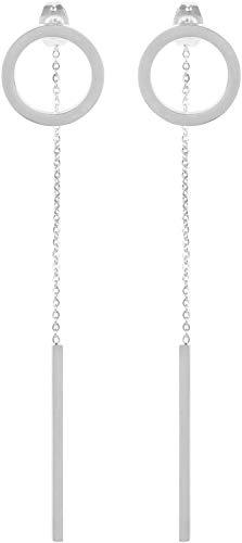 styleBREAKER Damen lange Edelstahl Ohrringe mit rundem Stecker und Stab Anhänger, Ohrhänger, Ohrschmuck 05090006, Farbe:Silber