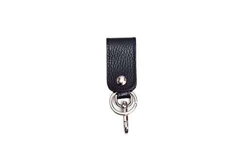 . Schlüsselanhänger aus strukturiertem Leder praktisches wie zeitloses Herren-Accessoire für jeden Tag mit Ringen und Haken Schlüsselband Schlüsselbund Schlüsselhalter Schlüsselring made in Italy schwarz (Mont Blanc Ring Für Männer)