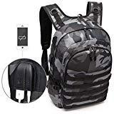 Leegoal Rucksack Level 3, Camouflage, schwarz, Laptop-/Tagesrucksack, mit USB-Laden für Wandern, Klettern, Campen, Uni, Schwarz / Camouflage