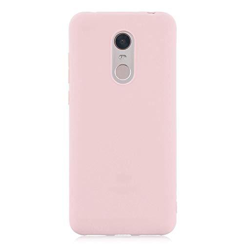 cuzz Funda para Xiaomi Redmi 5 Plus+{Protector de Pantalla de Vidrio Templado} Carcasa Silicona Suave Gel Rasguño y Resistente Teléfono Móvil Cover-Rosa Claro
