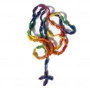 Regenbogen-Rosenkranz aus Schnur , 52 cm