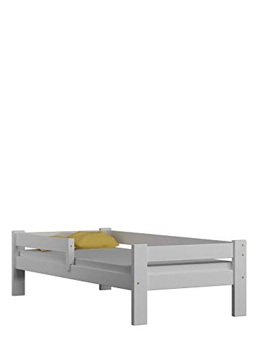 Children's Beds Home Cama Individual de Madera de Pino Macizo - Sauce sin cajones ni colchón Incluido (140x70, Blanco)