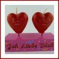 Herz Kerze in Rot mit Aufschrift I LOVE YOU 2 Herzkerzen auf Stick auch als Tortendekoration verwendbar verpackt in PVC Box Geschenk zum Geburtstag Valentinstag oder Tischschmuck zum Candle Light