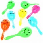 Party-Packung, 8 Maracas mit Smiley-Gesicht
