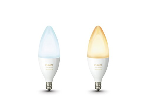 Philips Hue White Ambiance Personal Wireless Lighting 6 W E14 LED Twin Pack Small Edison Screw Light Bulb, 2 x Hue White Ambiance 6 W E14 Candle Lamps, Perfect Fit, Works with Alexa