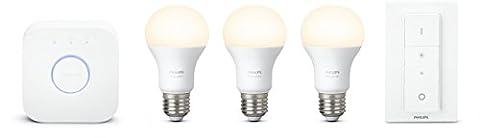 Philips Hue Kit de démarrage 3 ampoules White E27 + pont de connexion + télécommande Hue incluse (New)