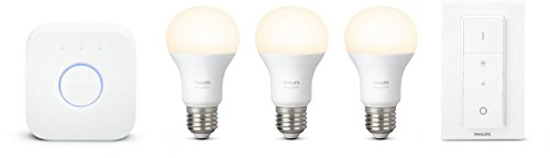 Philips Hue White Starter Kit con 3 Lampadine, E27, 1 Bridge e 1 Telecomando Dimmer Switch