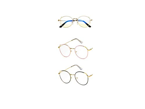 Retro Cat Ears Brillen, runde klare Brillengläser Unisex Anti-Strahlung Brille mit nicht verschreibungspflichtigen schlanken Metall Brillengestell, 3 Paare (Color : Gold, Size : S)