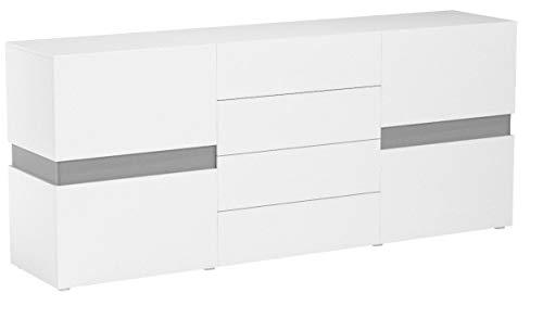Vladon Sideboard Kommode Flow, Korpus in Weiß Hochglanz/Front in Weiß Hochglanz inkl. LED Beleuchtung