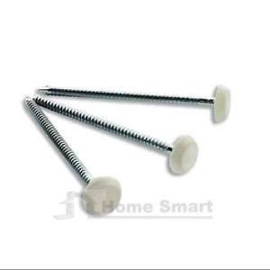 50 x 40mm White UPVC Poly Top Pins Nails Plastic Headed Polytop Stainless Steel by SmartHome