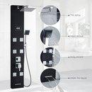 Obeeonr® pannello colonna doccia idromassaggio in acciaio nero 4 funzioni set doccia completo con 8