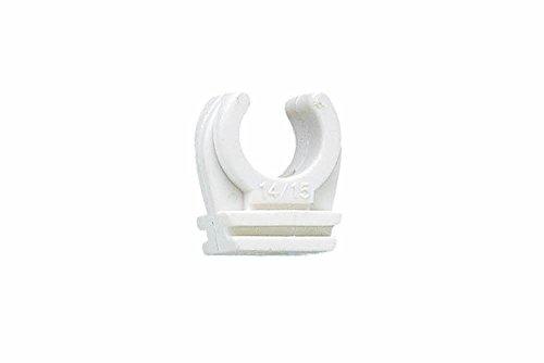 Index Fixing Systems LSABIN012 Nylon-Rohrclip AB-IN | für PVC-Rohr, Stahlrohr, Kupferrohr, halogenfrei, UV-beständig | Polyamid 6.6, Durchmesser 12 mm, Messing-Gewindehülse M6, 10 Stück
