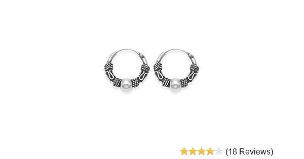 d7d0a20e5 Sterling Silver 10 mm Ball Stud Bali Sleeper Hoop Earrings: Amazon.co.uk:  Kitchen & Home