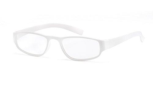 Extrem leichte Filtral Lesebrille in der Trendfarbe Weiß | Moderne eckige Lesehilfe für Damen & Herren | Erhältlich in grün, orange, türkis, pink, lila, blau, braun & schwarz | +2,0 dpt F4524013