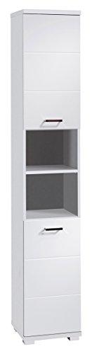 CAVADORE Badezimmer Hochschrank NUSA in Hochglanz Weiß lackiert / schmaler Badschrank mit 2 Türen...
