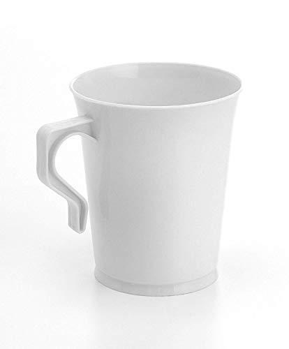 20 Kunststoff-Kaffeebecher, flexibel, leicht, Einweg, Hochglanz, wiederverwendbar und recycelbar, 227 ml 227 ml weiß