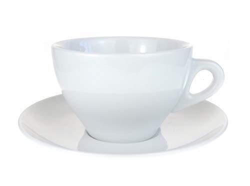 Moka Consorten Italienische Caffelatte-Tasse »Torino« (max. 320 ml), handgemacht weiß (6 Tassen & Untertassen) / Made in Italy