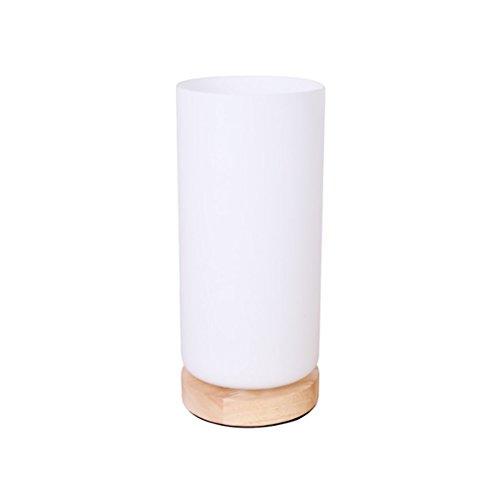 Tabellenlampe Einfache und kreative Nordic energiesparende Holz Basislampe/Mini-Schlafzimmer Nachttischlampe Glas Lampe Abdeckung Lampe Größe: 10 * 23cm Desktop Tischlampe