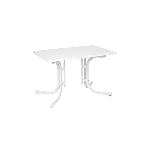 Ribelli Klapptisch weiß Gartentisch Campingtisch 110x70x70cm klappbarer Tisch mit Niveauregulierung witterungsbeständig