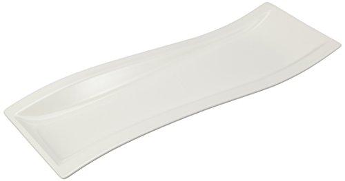 NewWave Antipastiteller / Rechteckiger Teller in geschwungener Form aus Porzellan in Weiß / 1 x (42 x 15cm)