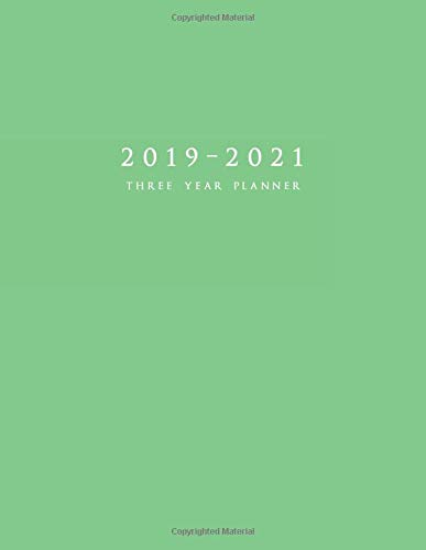 2019-2021 Three Year Planner: Large Weekly Planner with To-Do List (Matte Green Cover) por Edward Planners