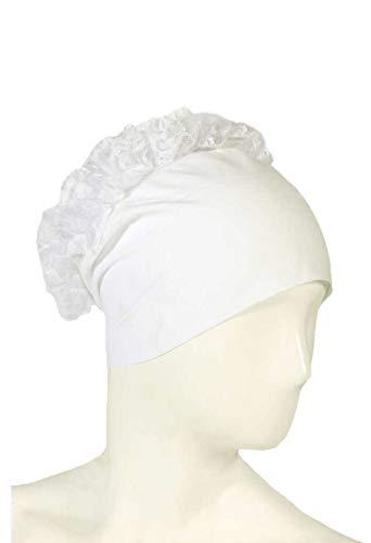 Istanbulbazaar®Turban Binde Bonnet Rüschen Hijab Cap Islam Tessetür Chemomütze Baumwolle Beanie Mützen bei Haarausfall Behandlung (Weiß)