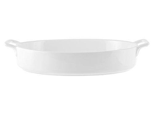 H&H 85923 Pirofila Ovale Bianca con Manici 32,5X22 Cm, Porcellana
