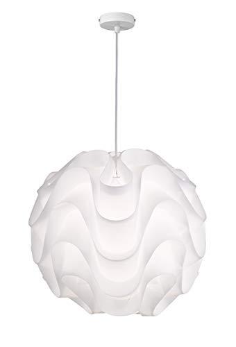 WOFI Pendelleuchte, Metall, E27, 60 W, Weiß, 45 x 45 x 395 cm
