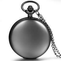Avaner Reloj de Bolsillo Negro Mate de Cazador con Cadena Larga 80cm, Estilo Sencillo Elegante, Cuarzo Reloj De Números Arábigos para Hombre Mujer