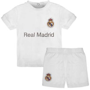 Real Madrid–Camiseta de manga corta para bebé y pantalón corto, equipación 2015–2016 Blanco blanco Talla:12-18 meses