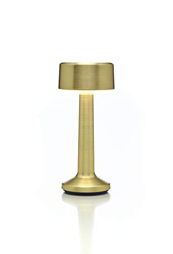 Imagilights Yellow Gold Metal Cylinder LED Tischlampe, 24 Farben mit Farbwechsel, Kerzenmodi, Höhe ca. 24 cm, Durchmesser ca. 8,8 cm, kabellos, mit Akku, inklusive Ladegerät & Fernbedienung