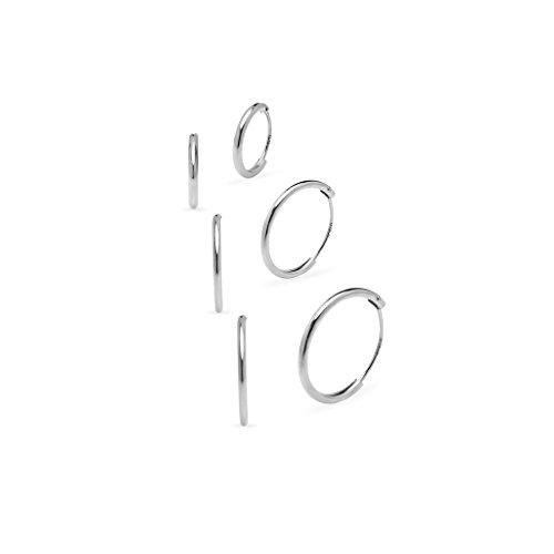 argento-sterling-925-3-paio-set-di-8-10-12-mm-sleeper-round-thin-endless-orecchini-a-cerchio-argento