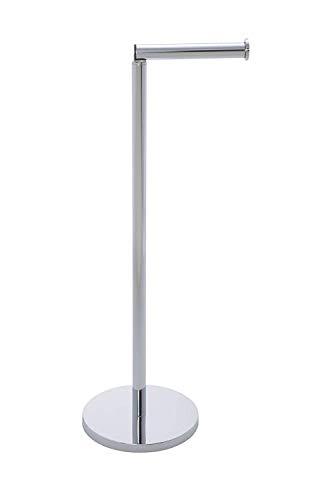 Wenko Stand Toilettenpapierhalter mit integriertem Toilettenpapier Ersatzrollenhalter, aus rostfreiem Edelstahl, 21 x 55 x 17 cm, glänzend