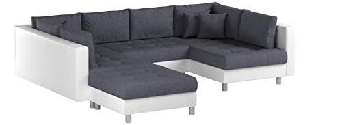 Invicta Interior Modernes XXL Ecksofa Kent 305 cm weiß anthrazit Federkern inkl. Hocker und Kissen Couch Sofa Wohnlandschaft U-Sofa Schlafsofa
