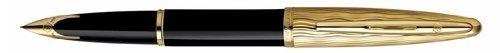 Waterman Carene-Penna stilografica, pennino medio, Essential, colore: nero e Oro con bordo dorato, S0909770 di Waterman)