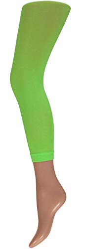 krautwear Damen Mädchen Leggins Leggings 60 den Karneval Fasching Kostüm schwarz rot rosa blau (grün-SM)