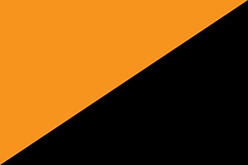 magFlags Drapeau Large Orange and Black Flag Mutualism | Mutualism Market Socialism/Anarchism | Drapeau Paysage | 1.35m² | 90x150cm