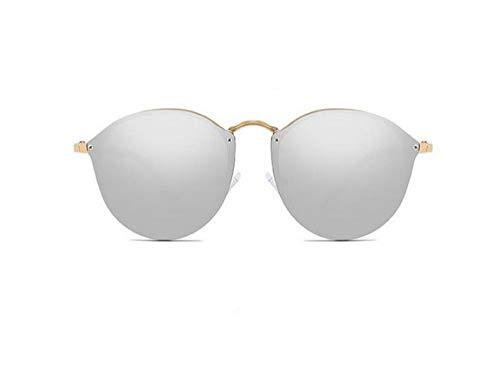 WSKPE Sonnenbrille,Mode Damen Cat Eye Sonnenbrille Metall Beine Randlose Sonnenbrille Frauen Shades Brille Gold Frame Lens