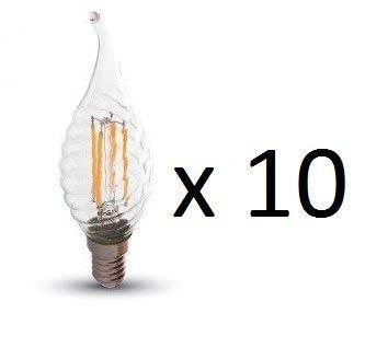 10x Filament Windstoßkerze Twist LED Leuchtmittel E14, 400lm, 4W, 2700K, warmweiß -