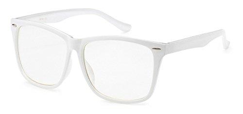 BOOLAVARD® Nerd Sonnenbrille im Wayfarer Stil Retro Vintage Unisex Brille - 45 verschiedene Farben/Modelle wählbar (Weiß (Nerd Farben Brille)